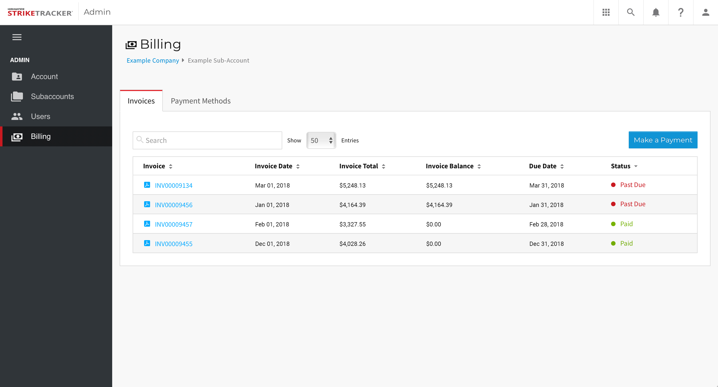 StrikeTracker - Billing - Invoices