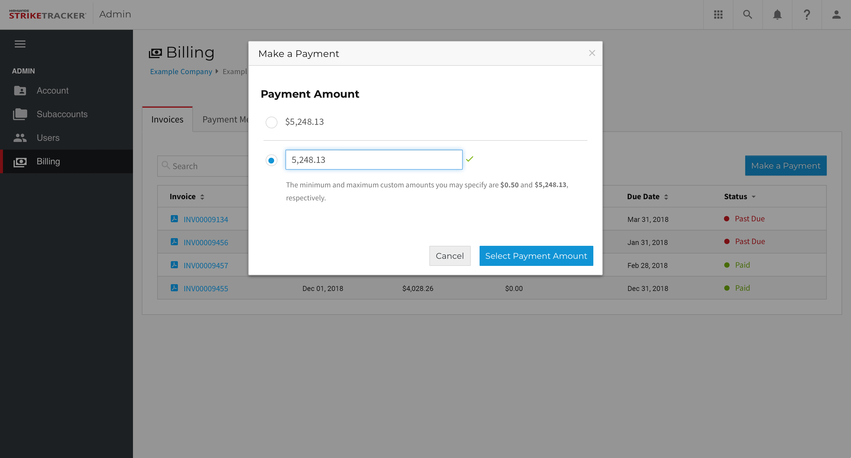 StrikeTracker - Billing - Make a Payment Select Amount